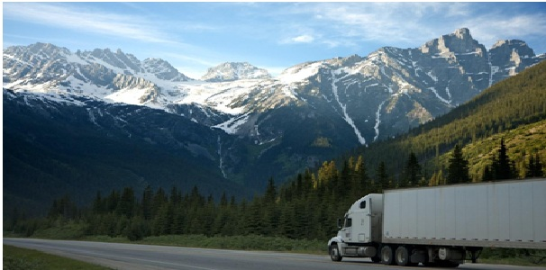 A truck in the mountains.
